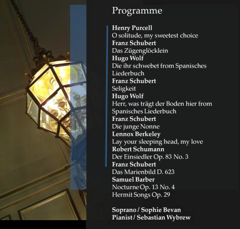 Sophie Bevan WH Recital list
